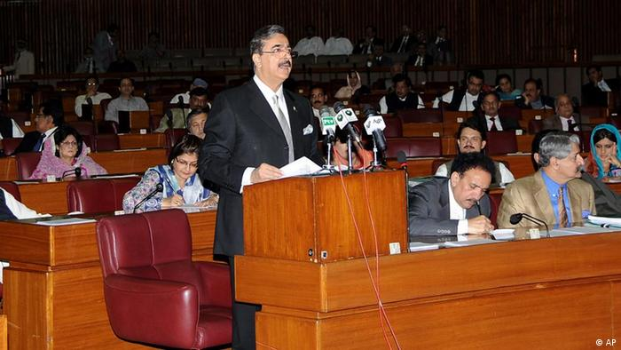 Pakistani Prime Minister Yousuf Raza Gilani addresses the Parliament in Islamabad, Pakistan.