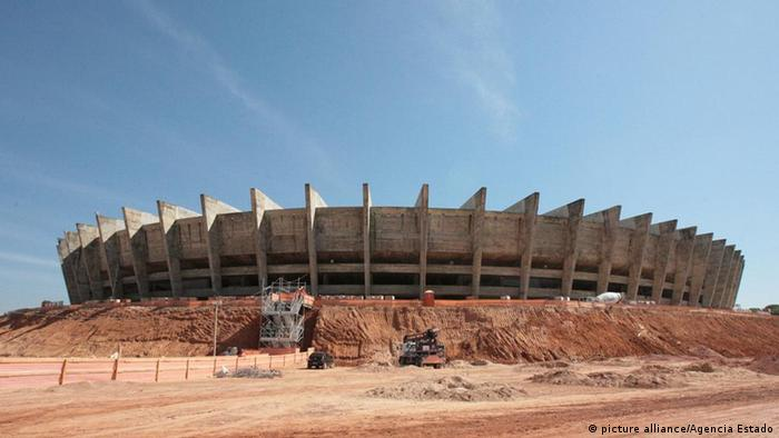 View of construction works at the Mineirao stadium