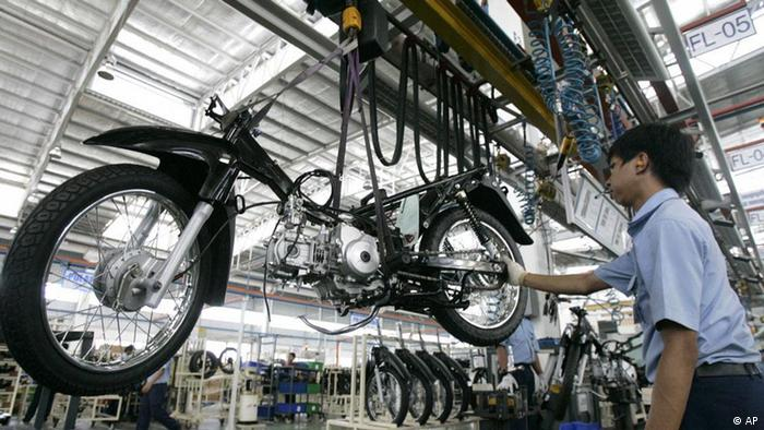 Production plant of TVS, an Indian motorcycle manufacturer, in Karawang, West Java, Indonesia, June 10, 2009. (ddp images/AP Photo/Irwin Fedriansyah)