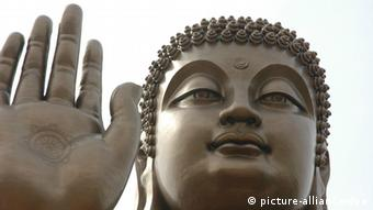 A view of the Big Buddha statue at Nanshan Mountain in Longkou, east China