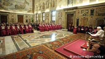 Pope Benedict XVI during the inauguration of the judicial year of the Sacred Roman Rota at the Vatican.