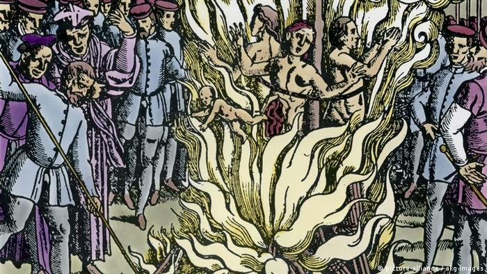 Queima de feiticeiras em xilogravura de 1580