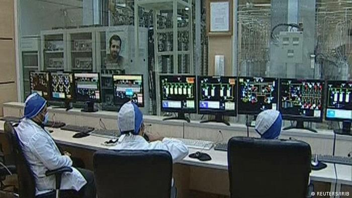 Workers are seen in what is described by Iranian state television as an enrichment control room at a facility in Natanz, in this still image taken from video released February 15, 2012. Iran trumpeted advances in nuclear technology on Wednesday, citing new uranium enrichment centrifuges and domestically made reactor fuel, in a move abetting a drift towards confrontation with the West over its disputed atomic ambitions. REUTERS/IRIB Iranian TV via Reuters TV (IRAN - Tags: SCIENCE TECHNOLOGY POLITICS ENERGY) IRIB - NO ACCESS IRAN/BBC PERSIAN TV/VOA PERSIAN NEWS NETWORK -- INTERNET ACCESS: NO ACCESS IRAN/BBC PERSIAN TV / VOA PERSIAN NEWS NETWORK WEBSITES (RESTRICTION IMPOSED LOCALLY BY IRANIAN AUTHORITIES) NO SALES. NO ARCHIVES. FOR EDITORIAL USE ONLY. NOT FOR SALE FOR MARKETING OR ADVERTISING CAMPAIGNS. THIS IMAGE HAS BEEN SUPPLIED BY A THIRD PARTY. IT IS DISTRIBUTED, EXACTLY AS RECEIVED BY REUTERS, AS A SERVICE TO CLIENTS. IRAN OUT. NO COMMERCIAL OR EDITORIAL SALES IN IRAN