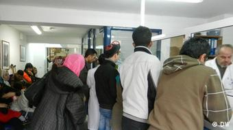 Patients waiting for treatment in a clinic in Athens
