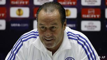 Huub Stevens headcoach of Schalke 04 smiles during a press conference in Plzen, Czech Republic, Wednesday, Feb. 15, 2012.