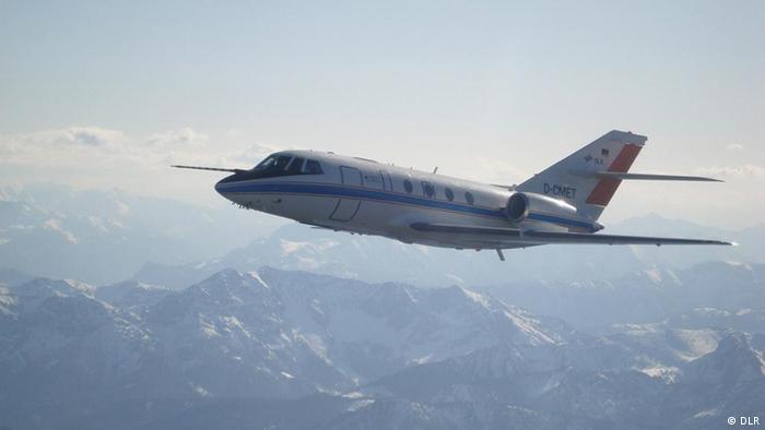Das Forschungsflugzeug Falcon des Deutschen Zentrums für Luft- und Raumfahrt DLR im Flug. (Foto: DLR)