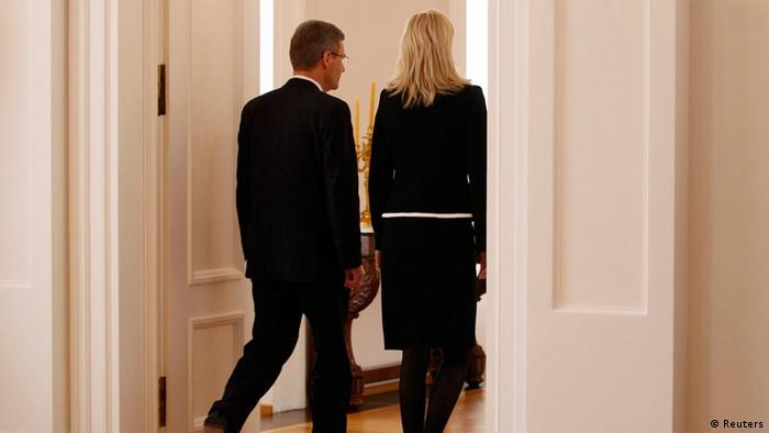 Christian Wulff and his wife Bettina walking out of a press conference in Berlin on February 17, 2012, when Wulff announced his resignation. Photo: REUTERS/Tobias Schwarz