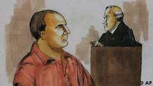 Zeichnung Gericht David Coleman Headley vor Richter Harry Leineweber
