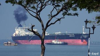 The oil tanker Enrica Lexie leaves port.