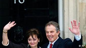 The Blairs in front of 10 Downing Street
