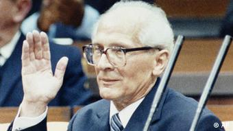 Erich Honecker taking part in festivities on the occasion of the 40th anniversary of the foundation of the GDR on Oct., 6, 1989 in the parliament (Peoples' Chamber) of the GDR. (AP Photo)