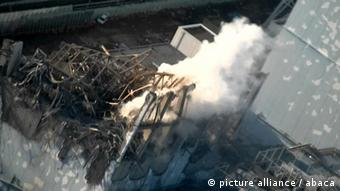 Hand out photo of Unit 3 of Fukushima Daiichi Nuclear Power Station pictured from a helicopter on March 16, 2011.
