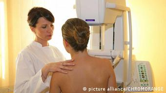 A woman being checked for breast cancer