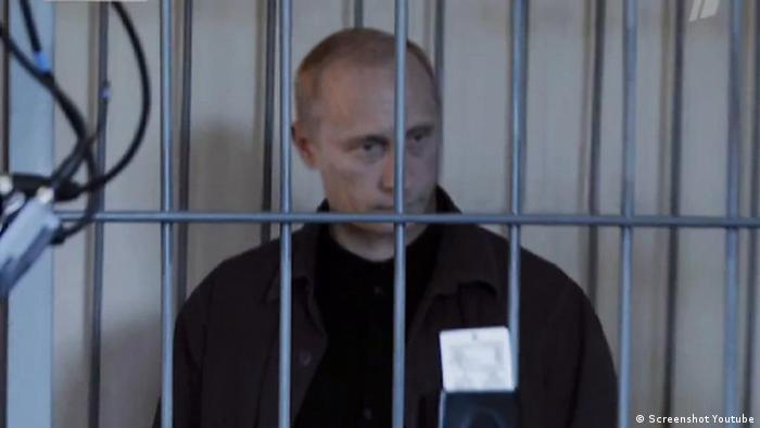 Screenshot from a parody video showing Putin under arrest