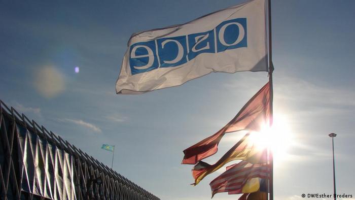 Флаг ОБСЕ и других стран-членов организации на фоне неба