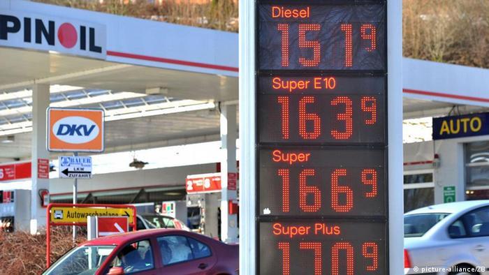 Benzin Treibstoff Preise Preistafel