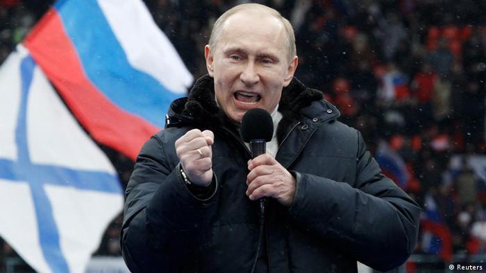 Putin hält Rede bei einer Demo zur Unterstützung seiner Kandidatur 2012