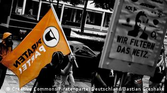 A pirate party demonstration in Germany