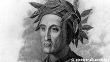 ARCHIV - Der italienische Schriftsteller Dante Alighieri (1265-1321) in einem undatierten Stich. Dantes «Göttliche Komödie» zählt zu den Klassikern der Weltliteratur. Die Geschichte ist schon siebenhundert Jahre alt und wird doch immer wieder neu aufgelegt. Der Mainzer Philosophiehistoriker Kurt Flasch präsentiert sie jetzt in einer Neuübersetzung, begleitet von einem um neue Dante-Leser werbenden Kommentarband. Foto: Diener dpa (zu Literaturdienst «Die ganze Welt in einem Gedicht - Dantes Commedia neu übersetzt» am 11.10.2011) +++(c) dpa - Bildfunk+++