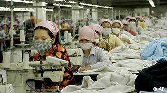 Workers in a garment factory, south of Phnom Penh