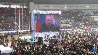 Russland Demonstration für Putin Propaganda