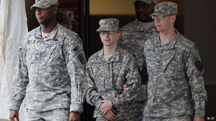 Army Pfc. Bradley Manning, center, is escorted out of a courthouse in Fort Meade, Md., Wednesday, Dec. 21, 2011, after a military hearing that will determine if he should face court-martial for his alleged role in the WikiLeaks classified leaks case went on recess for the day. (AP Photo/Patrick Semansky)