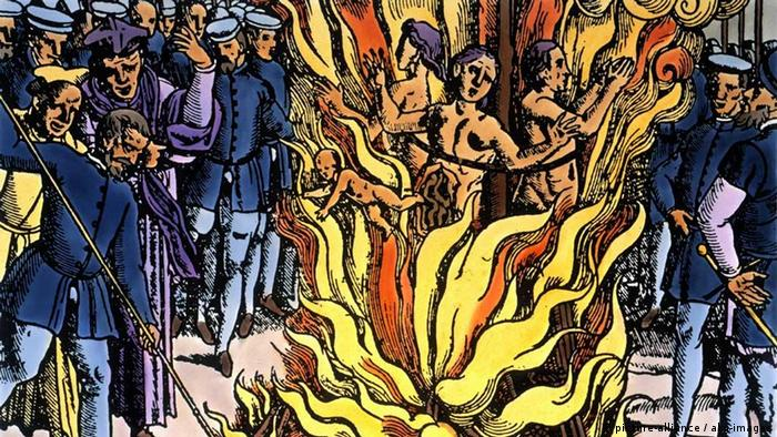 Сожжение трех ведьм, гравюра 1580 года