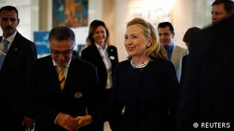 US Secretary of State Hillary Clinton arrives at her hotel in Tunis