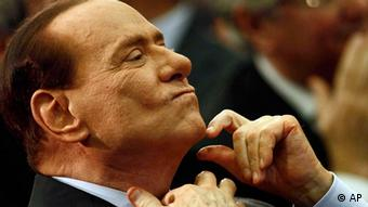 Silvio Berlusconi gesticulates during a political convntion of hos party Il popolo della Liberta' (The People of Freedom)