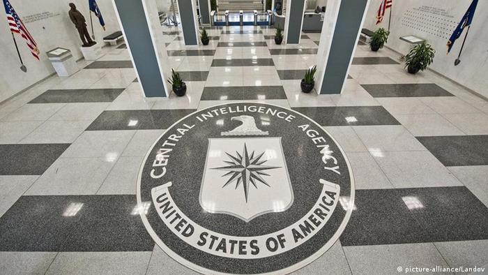 The old entrance of the Central Intelligence Agency Headquarters displaying the seal of the CIA on the floor