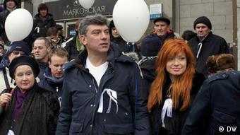 Борис Немцов во время флэш-моба в Москве в феврале 2012 года