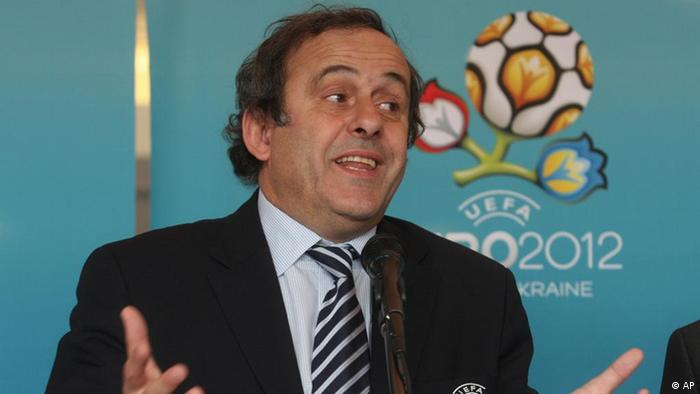 UEFA President Michel Platini speak during his press conference in Donetsk Ukraine, Wednesday, April 7, 2010. UEFA president Michel Platini and a UEFA delegation are on a visit to Ukraine to get a progress report on the Euro 2012 preparations in the four host cities of Lviv, Donetsk, Kharkiv and Kiev. (AP Photo/Photomig)