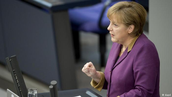 Chancellor Angela Merkel addressing the Bundestag