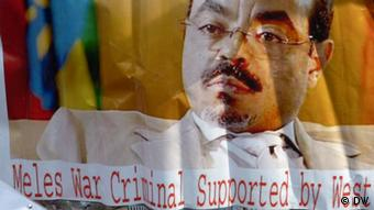 A poster showing a portrait picture of late Ethiopian prime minister Meles Zenawi