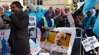 Exiles demonstrating in London outside a conference on Somalia