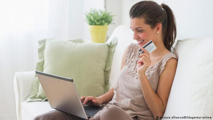 Young woman online shopping