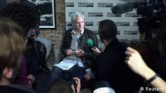 WikiLeaks founder Julian Assange speaks at a news conference in London, February 27, 2012. The anti-secrecy group WikiLeaks began publishing on Monday more than five million emails from a U.S.-based global security analysis company that has been likened to a shadow CIA. REUTERS/Finbarr O'Reilly (BRITAIN - Tags: POLITICS MEDIA)