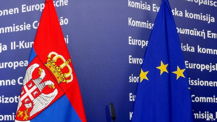 EU and Serbian flags