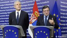 بوریس تادیچ (چپ) رئیس جمهور صربستان در کنار ژوزه مانوئل خوزه، رئیس کمیسیون اروپا