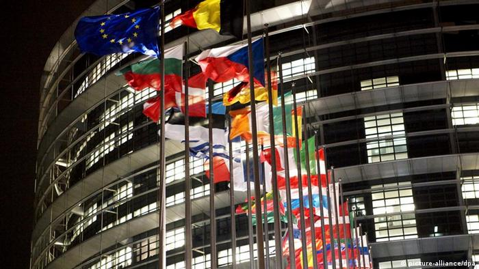 Flags are seen in front of the European Parliament in Strasbourg