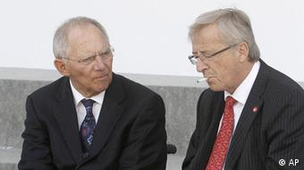 Eurogroup president Jean-Claude Juncker and German Finance Minister Wolfgang Schäuble