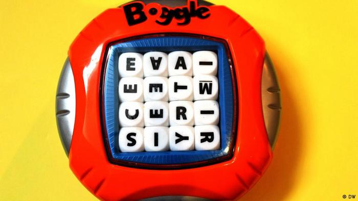 Ein Boggle-Spiel mit 16 Buchstaben in einem Quadrat