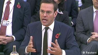 News International Chairman James Murdoch is seen speaking to parliamentarians in London in this November 10, 2011 file photograph. James Murdoch, the younger son of chairman Rupert, would relinquish his position as executive chairman of its News International unit, News Corp said on February 29, 2012. REUTERS/Parbul TV via Reuters TV/Files (BRITAIN - Tags: MEDIA BUSINESS POLITICS) FOR EDITORIAL USE ONLY. NOT FOR SALE FOR MARKETING OR ADVERTISING CAMPAIGNS
