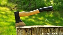 Ein Baumstamm liegt im Laub. Ein Axt wurde in den Stamm geschlagen. Axt © Stefan Körber #31815742