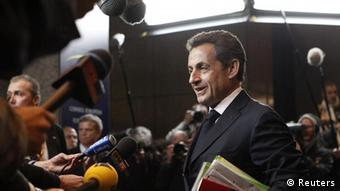France's President Nicolas Sarkozy arrives at an European Union leaders summit in Brussels March 1, 2012. EU leaders wrestled on Thursday with the balance between budget austerity and reviving lost growth at the first summit for two years in which the euro zone debt crisis did not eclipse all else. REUTERS/Sebastien Pirlet (BELGIUM - Tags: POLITICS)