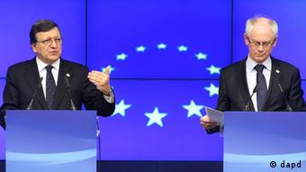 European Commission President Jose Manuel Barroso, left, and European Council President Herman Van Rompuy