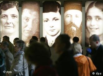 Large-format portraits at the information center of the Holocaust memorial in Berlin