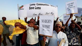 Residents in Lamu protesting