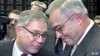 Der Vorstandsvorsitzende der Deutschen Borse AG, Werner Seifert, links, und Aurfsichtsratschef Rolf Breuer, rechts