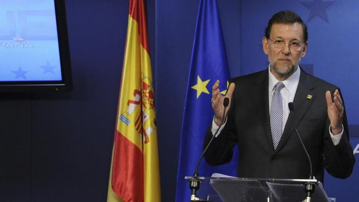 Spain's Prime Minister Mariano Rajoy speaks during a media conference at an EU Summit in Brussels on Friday, March 2, 2012. The leaders of 25 European states have signed a new treaty designed to prevent the 17 euro countries from running up huge debts in order to prevent a repeat of the current crisis afflicting the single currency zone. Of the 27 European Union states, only Britain and the Czech Republic decided not to sign the treaty. (Foto:Thierry Charlier/AP/dapd) <<